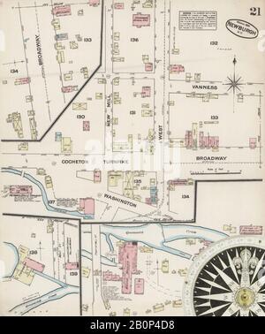Bild 21 von Sanborn Fire Insurance Map aus Newburgh, Orange County, New York. März 1884. 21 Blatt(e), Amerika, Straßenkarte mit einem Kompass Aus Dem 19. Jahrhundert - Stockfoto