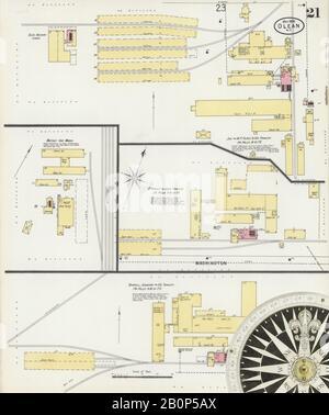Bild 21 von Sanborn Fire Insurance Map aus Olean, Cattaraugus County, New York. Mai 1898. 28 Blatt(e), Amerika, Straßenkarte mit einem Kompass Aus Dem 19. Jahrhundert - Stockfoto
