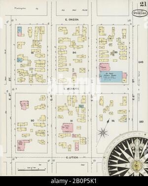 Bild 21 von Sanborn Fire Insurance Map aus Oswego, Oswego County, New York. August 1890. 31 Blatt(e), Amerika, Straßenkarte mit einem Kompass Aus Dem 19. Jahrhundert - Stockfoto
