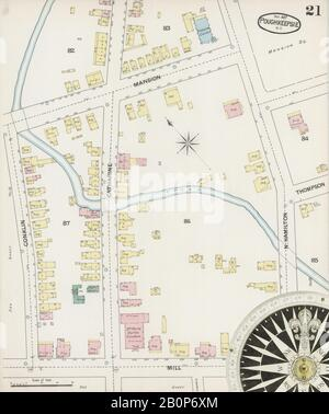 Bild 21 von Sanborn Fire Insurance Map aus Poughkeepsie, Dutchess County, New York. Nov. 24 Blatt(e), Amerika, Straßenkarte mit einem Kompass Aus Dem 19. Jahrhundert - Stockfoto