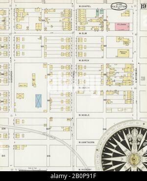 Bild 19 von Sanborn Fire Insurance Map aus Hazleton, Luzerne County, Pennsylvania. Dezember 1895. 24 Blatt(e), Amerika, Straßenkarte mit einem Kompass Aus Dem 19. Jahrhundert
