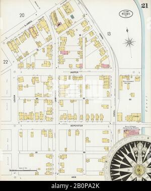 Bild 21 von Sanborn Fire Insurance Map aus Rom, Oneida County, New York. Okt 1899. 26 Blatt(e), Amerika, Straßenkarte mit einem Kompass Aus Dem 19. Jahrhundert - Stockfoto