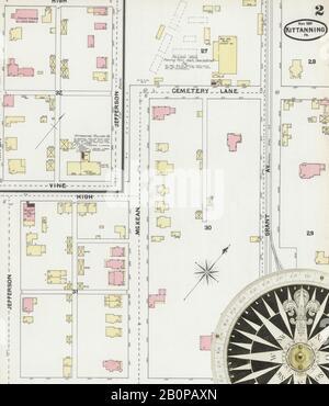 Bild 2 von Sanborn Fire Insurance Map aus Kittanning, Armstrong County, Pennsylvania. Nov. 5 Blatt(e), Amerika, Straßenkarte mit einem Kompass Aus Dem 19. Jahrhundert - Stockfoto