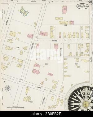 Bild 21 von Sanborn Fire Insurance Map aus Saratoga, Saratoga County, New York. Okt. 28 Blatt(e), Amerika, Straßenkarte mit einem Kompass Aus Dem 19. Jahrhundert - Stockfoto