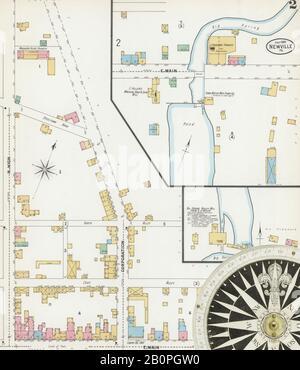 Bild 2 von Sanborn Fire Insurance Map aus Newville, Cumberland County, Pennsylvania. Juli 1899. 5 Blatt(e), Amerika, Straßenkarte mit einem Kompass Aus Dem 19. Jahrhundert - Stockfoto