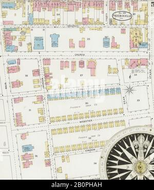 Bild 5 von Sanborn Fire Insurance Map aus Phoenix, Chester County, Pennsylvania. Nov. 1894. 10 Blatt(e), Amerika, Straßenkarte mit einem Kompass Aus Dem 19. Jahrhundert