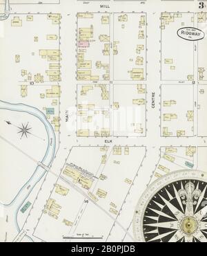 Bild 3 von Sanborn Fire Insurance Map aus Ridgway, Elk County, Pennsylvania. Sep. 5 Blatt(e), Amerika, Straßenkarte mit einem Kompass Aus Dem 19. Jahrhundert