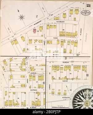 Bild 21 von Sanborn Fire Insurance Map aus Springfield, Greene County, Missouri. August 1902. 38 Blatt(e), Amerika, Straßenkarte mit einem Kompass Aus Dem 19. Jahrhundert - Stockfoto