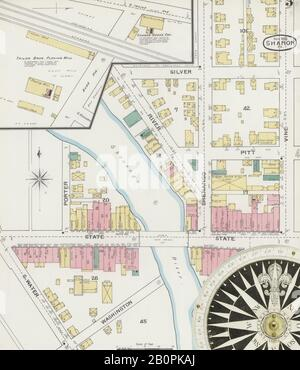 Bild 3 von Sanborn Fire Insurance Map aus Sharon, Mercer County, Pennsylvania. Nov. 1893. 9 Blatt(e), Amerika, Straßenkarte mit einem Kompass Aus Dem 19. Jahrhundert - Stockfoto