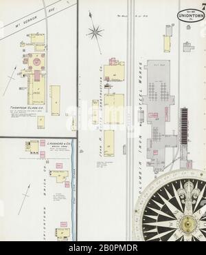 Bild 7 von Sanborn Fire Insurance Map aus Uniontown, Fayette County, Pennsylvania. Okt. 7 Blatt(e), Amerika, Straßenkarte mit einem Kompass Aus Dem 19. Jahrhundert - Stockfoto