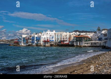 Kleine Bucht von Venedig in Mykonos Stadt auf der Insel Mykonos in Griechenland - Stockfoto