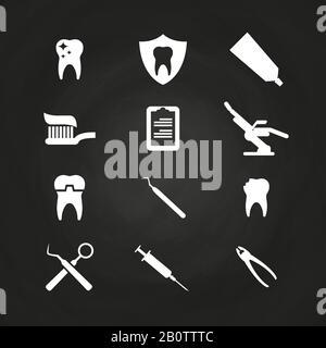 Symbole für die Stomatologie auf dem Schwarzen Brett - Symbole für die Zahnpflege. Gesundheitssymbol, Vektorgrafiken - Stockfoto