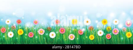 Vektordarstellung abstrakter Hintergrund schöne bunte Blume, für ein Frühlingsurlaubskonzept über blauem Himmel, mit leichter Unschärfe bokeh an Stockfoto