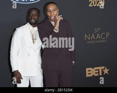 Los Angeles, USA. Februar 2020. (L-R) Elijah Kelly und Lena Waithe bei den 51. NAACP Image Awards im Pasadena Civic Auditorium in Pasadena, CA am Samstag, 22. Februar 2020. (Foto Von Sthanlee B. Mirador/Sipa USA) Kredit: SIPA USA/Alamy Live News - Stockfoto