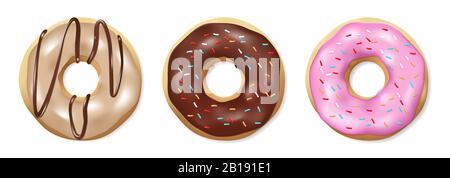 Satz Donuts isoliert auf weiß. Schmackhafte bunte und glänzende Douglasien mit Pink- und Schokoladenglasur. Realistische Darstellung des runden Donut-Vektors. - Stockfoto