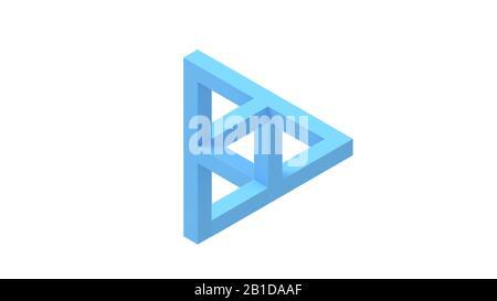 3D-Rendering einer computergenerierten optischen Täuschung isoliert - Stockfoto