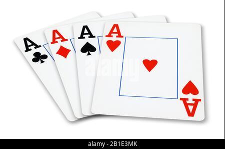 Vier Asse Spielkarten - auf weißen isoliert - Stockfoto