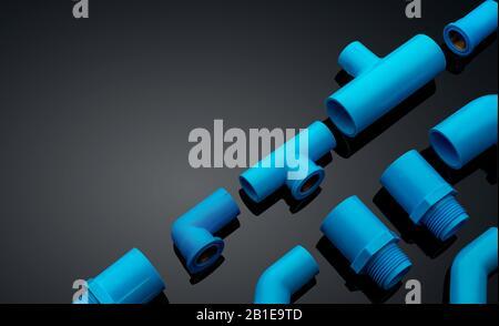 Satz blauer PVC-Rohrverschraubungen isoliert auf dunklem Hintergrund. Blaues Kunststoff-Wasserrohr. PVC-Zubehör für Leitungen. Klempnerausrüstung. Biegung und drei - Stockfoto