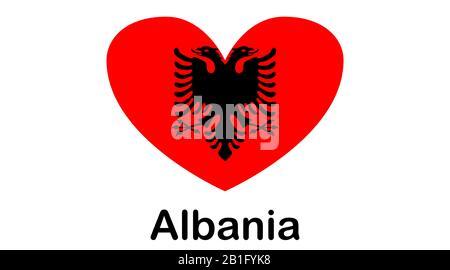 Albanien Nationalflagge, Farben und Proportionen richtig. - Stockfoto