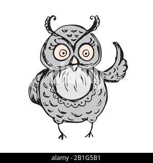 Niedliche Eule, handgezeichnetes Maskottchen, Tierfigur, isoliert auf weißem Hintergrund, Stock-Vektor-Illustration - Stockfoto