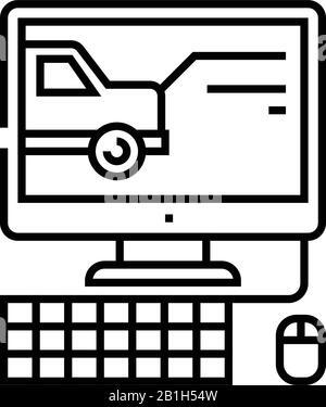 DVR-Datensatzzeilensymbol, Konzeptzeichen, Konturvektorabbildung, lineares Symbol. - Stockfoto