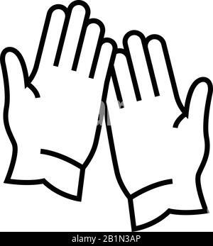 Symbol für Handschuhlinie, Konzeptschild, Konturvektorabbildung, lineares Symbol. - Stockfoto