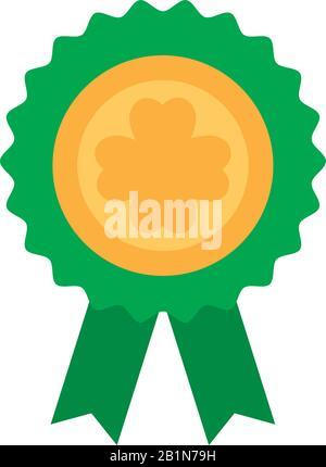 Emblem mit grünem Farbband und flachem Design mit Symbolen für Vektorgrafiken - Stockfoto