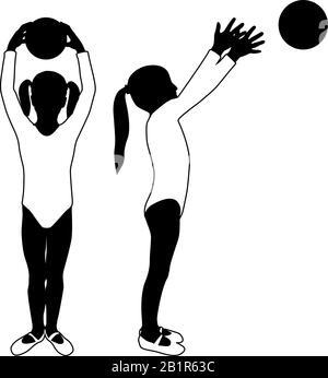 Silhouetten für Kinder. Mädchen, die mit Ball in weißem Turnleotard spielen - Stockfoto