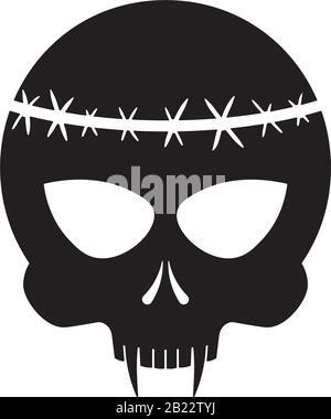 Schädel / Vampir / Tattoo / Schwarz isoliert auf Weiß - Stockfoto
