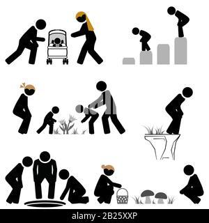 Reale Lebenssituationen, die sich nach vorne beugen. - Stockfoto