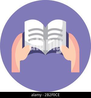 Hände, die ein Buchsymbol über weißem Hintergrund halten, bunter Blockstil, Vektorgrafiken - Stockfoto