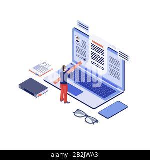 Isometrische Vektorgrafik kopieren. Texter, Content-Writer Erstellen, Schreiben von Blog-Artikel, Essay. Social Media-Marketing, Blogging 3d - Stockfoto
