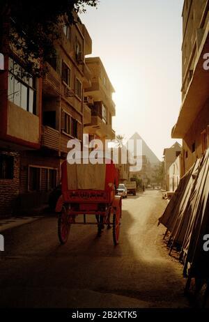 Reisefotografien - das Viertel Gizeh und die große Pyramide Cheops oder Khufu in Gizeh Kairo in Ägypten im Nahen Osten Nordafrikas