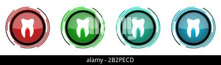 Zähnelrunde glänzende Vektorsymbole, Knopfleiste für Webdesign, Internet- und Handyanwendungen in vier Farben, isoliert auf weißem Backgrot - Stockfoto