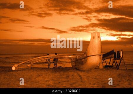 Beobachten Sie den Sonnenuntergang am hawaiianischen Strand.
