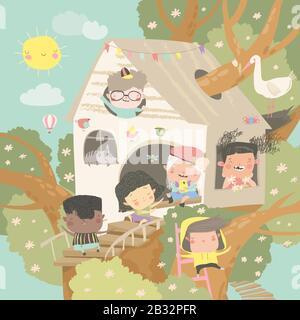 Kinder spielen und Spaß in der Treehouse - Stockfoto