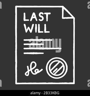 Das zuletzt signierte Symbol kreideweiß auf schwarzem Hintergrund. Dokument mit Stempel. Notariell beglaubigt. Apostille und Legalisierung. Rechtliches Papier. Notar - Stockfoto