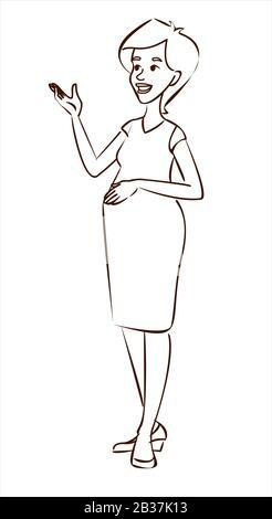 Schwangere Frau, Vektor outline Hand zeichnen, malen
