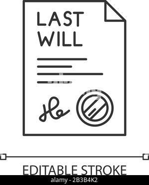"""Mit """"Vorzeichenbezeichner"""" wird ein perfektes lineares Symbol angezeigt. Dokument mit Stempel. Notariell beglaubigt. Rechtliches Papier. Anpassbare Abbildung mit dünner Linie. Kontursymbol - Stockfoto"""