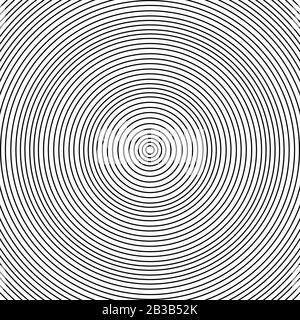 Viele schwarze Kreise ineinander, die in einem Abstand liegen, der der Stärke aller Linien entspricht. - Stockfoto