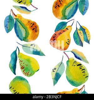 Handbemalte Birnen in Farbe in vertikalem, nahtlosem Rahmen. Komposition in Gelb, Orange und Blau, Cartoon-Stil. Coole vegetarische Illustration.
