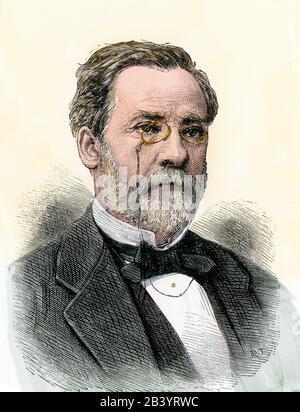 Louis Pasteur. Handfarbener Holzschnitt - Stockfoto