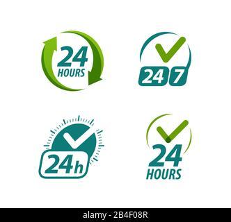 Das Symbol oder Logo ist 24 Stunden am Tag geöffnet. Immer verfügbarer Symbolvektor - Stockfoto