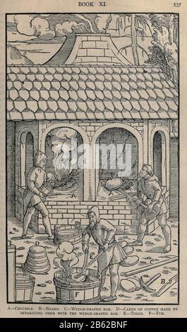 Schmelzermetall Georgius Agricola De re metallica, übersetzt ins Englische aus dem 1. Lateinischen Hrsg. von 1556, gedruckt in London von Der Zeitschrift Mining im Jahr 1912