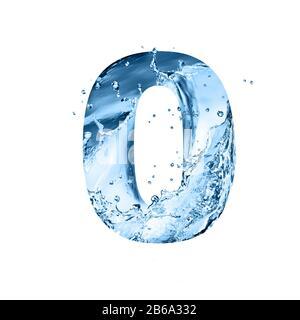 Stilisierte Schrift, Text aus Wasserspritzern, Ziffer 0, isoliert auf weißem Hintergrund - Stockfoto