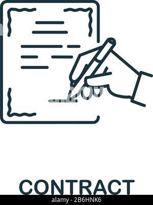 Vertragssymbol aus der Headhunting Collection. Einfaches Vertragssymbol für Vorlagen, Webdesign und Infografiken. - Stockfoto
