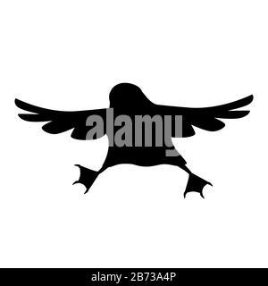 Schwarze Silhouette atlantischer Puffin Cartoon Tierdesign flache Vektorgrafiken isoliert auf weißem Hintergrund. - Stockfoto