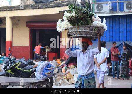 Täglicher Arbeiter auf dem Mullick Ghat Market - Stockfoto