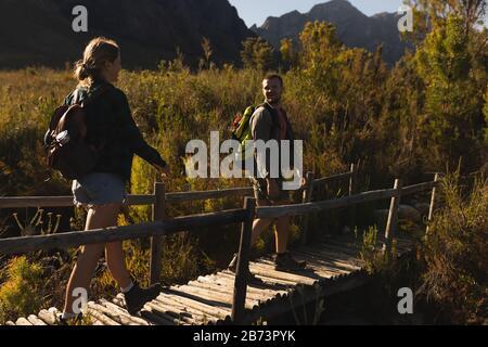 Rückansicht des Paares, das auf einer Holzbrücke spazieren geht - Stockfoto