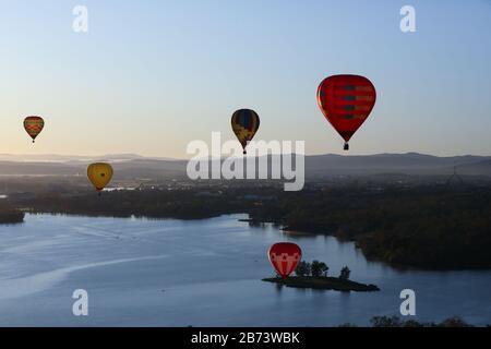 Canberra, Australien. März 2020. Heißluftballons werden am Himmel während des jährlichen Canberra Balloon Spectacular Festivals in Canberra, Australien, am 13. März 2020 gesehen. Credit: Chu Chen/Xinhua/Alamy Live News - Stockfoto